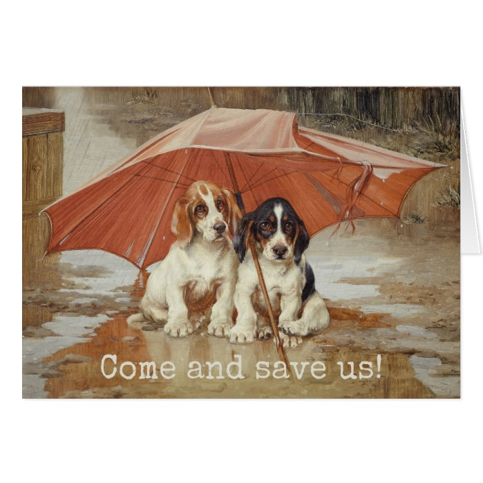 Basset hound puppies under umbrella CC0190 Trood Card