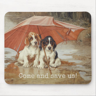 Basset hound puppies under umbrella CC0866 Trood Mouse Pad