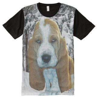 Basset Hound Puppy In Snowy Woods All-Over-Print T-Shirt