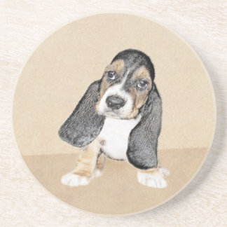 Basset Hound Puppy Painting - Original Dog Art Coaster
