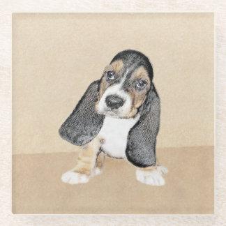 Basset Hound Puppy Painting - Original Dog Art Glass Coaster