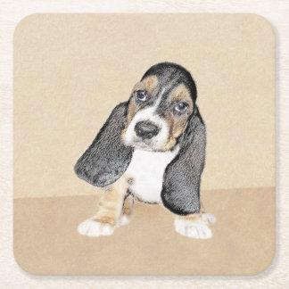 Basset Hound Puppy Painting - Original Dog Art Square Paper Coaster