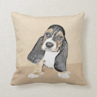 Basset Hound Puppy Throw Pillow