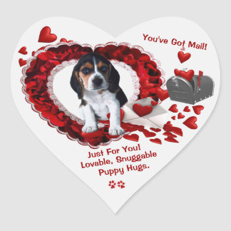 Basset Hound Puppy You've Got Mail Second Version Heart Sticker