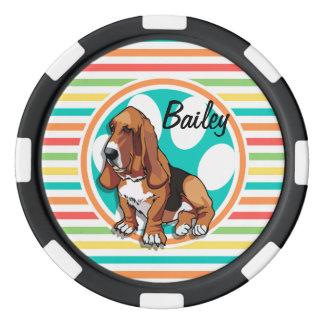 Basset Hound; Rayas brillantes del arco iris Juego De Fichas De Póquer