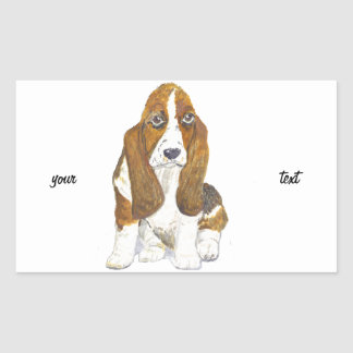 Basset Hound Rectangular Sticker