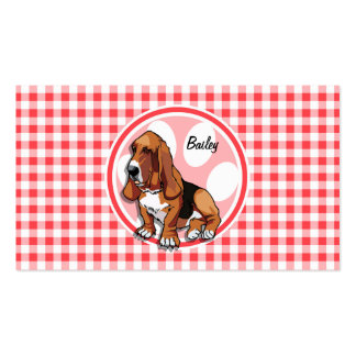 Basset Hound; Red and White Gingham Business Cards