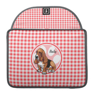 Basset Hound; Red and White Gingham Sleeves For MacBook Pro