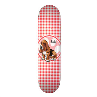 Basset Hound; Red and White Gingham Skateboard