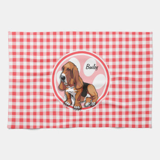 Basset Hound; Red and White Gingham Towel