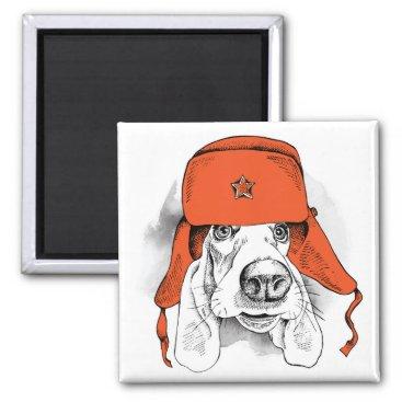 Basset Hound   Red Ushanka Hat Magnet