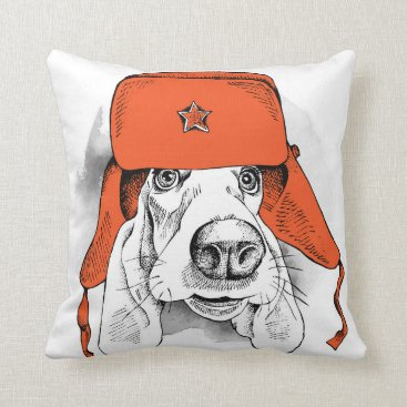 Basset Hound | Red Ushanka Hat Throw Pillow