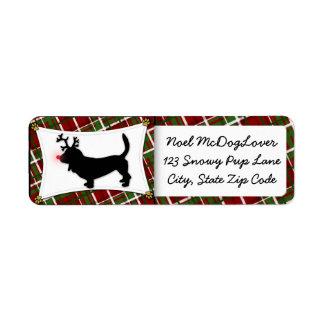 Basset Hound Reindeer Christmas Return Address Label