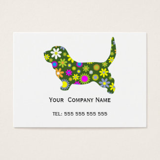 Basset Hound retro floral custom business card