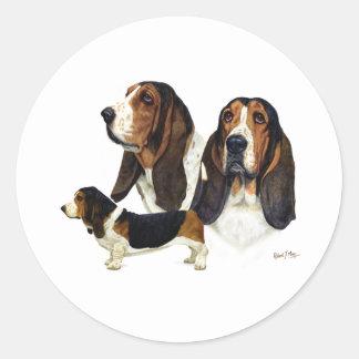 Basset Hound Round Stickers