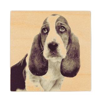Basset Hound Sad Face on Maple Wood Coaster