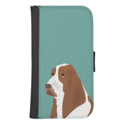 Samsung Galaxy S4 Wallet Case with Basset Hound Phone Cases design