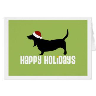 Basset Hound Santa Hat Greeting Card
