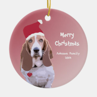 Basset Hound Santa Personalized Christmas Ceramic Ornament