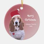 Basset Hound Santa Personalized Christmas Ornaments