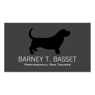 Basset Hound Silhouette Black on Grey Business Card