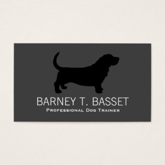 Basset Hound Silhouette Black on Grey Business Card