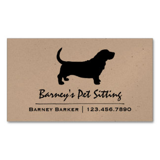 Basset Hound Silhouette Business Card Magnet
