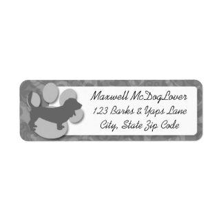 Basset Hound Silhouette Label