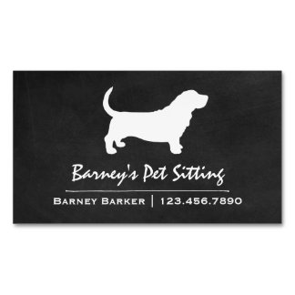 Basset Hound Silhouette Magnetic Business Card