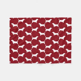 Basset Hound Silhouettes Pattern Fleece Blanket