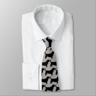 Basset Hound Silhouettes Pattern Neck Tie