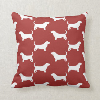 Basset Hound Silhouettes Pattern Throw Pillow