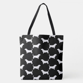 Basset Hound Silhouettes Pattern Tote Bag