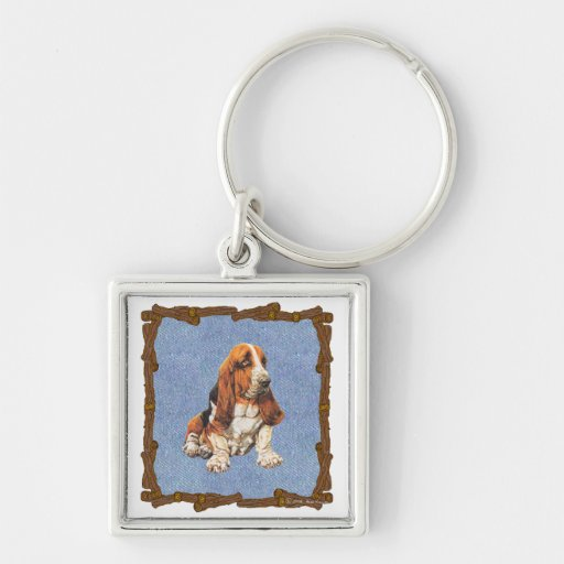 Basset Hound Silver-Colored Square Keychain