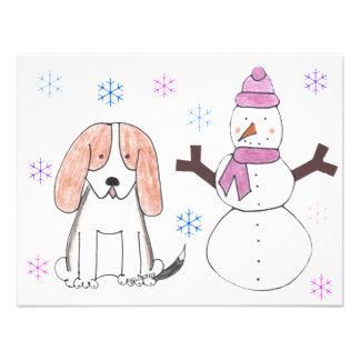 Basset Hound & Snowman Invites
