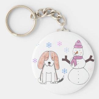 Basset Hound & Snowman Keychain