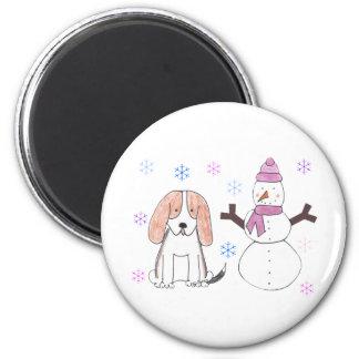Basset Hound & Snowman Magnet