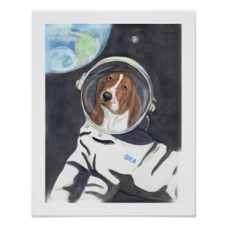 Basset Hound Space Walk Poster