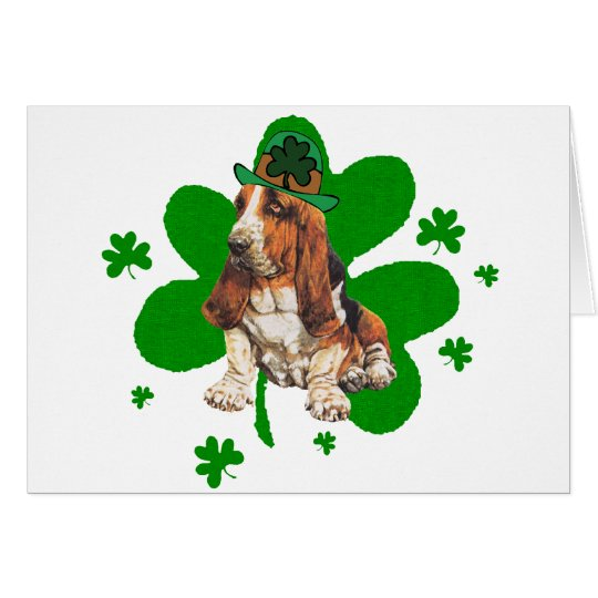 Basset Hound St. Paddys Day Card