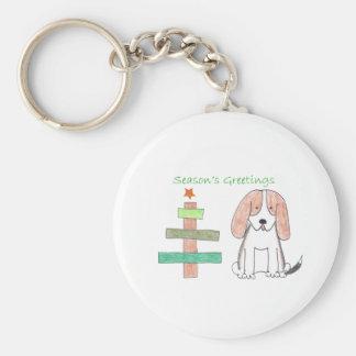 Basset Hound Stick Tree Keychain