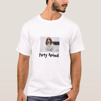 """Basset Hound t-shirt with """"party animal"""" saying"""