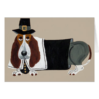 Basset Hound Thanksgiving Pilgrim Card
