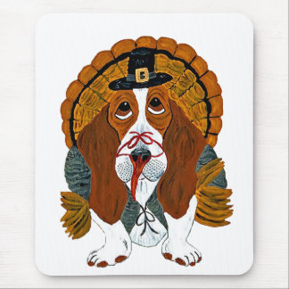 Basset Hound Thanksgiving Turkey Mouse Pad