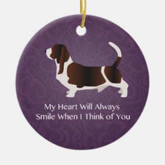 Basset Hound Thinking of You Design Christmas Ornament