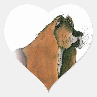 basset hound, tony fernandes heart sticker