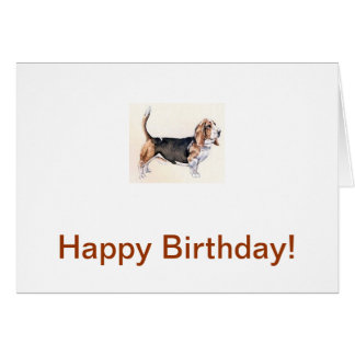 Basset Hound Tri-Colored Greeting Card