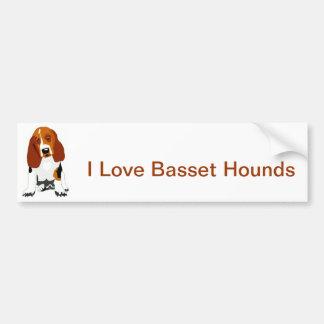 Basset Hound Tri Coloreó Pegatina Para Auto