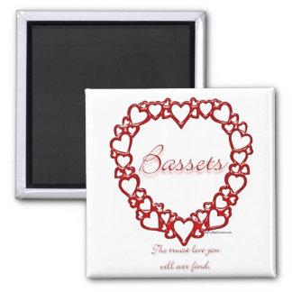 Basset Hound True Love 2 Inch Square Magnet