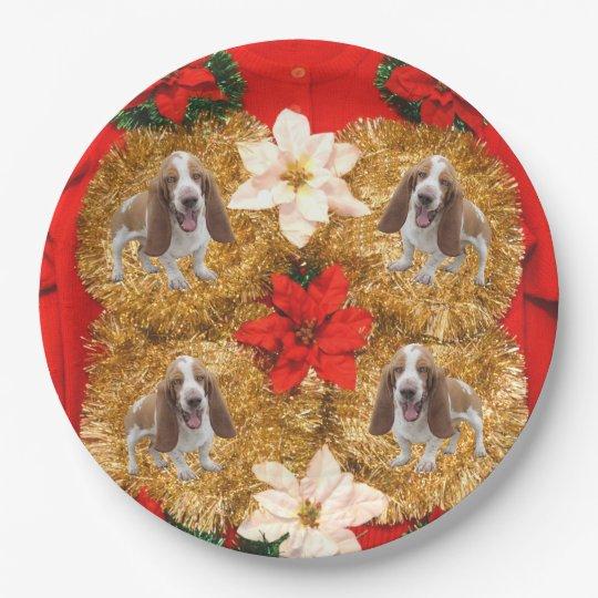 Basset Hound Ugly Christmas Sweater Paper Plate Zazzlecom