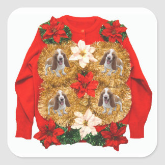 Basset Hound Ugly Christmas Sweater Square Sticker